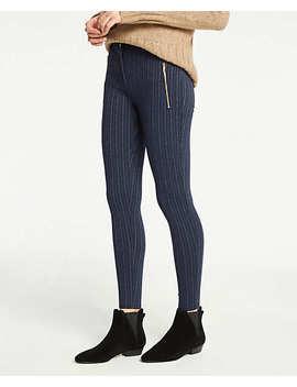 Petite Pinstripe Zip Pocket Leggings by Ann Taylor
