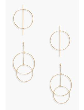Circle Bar & Layered Hoop Earrings 2 Pack by Boohoo