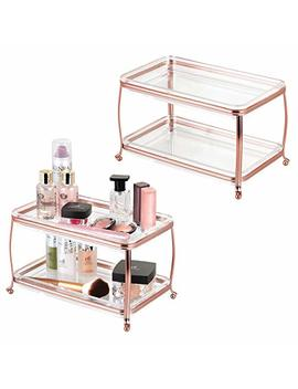 M Design Decorative Makeup Storage Organizer Vanity Tray For Bathroom Counter Tops, 2 Levels To Hold Makeup Brushes, Eyeshadow Palettes, Lipstick, Perfume And Jewelry   Pack Of 2, Rose Gold/Clear by M Design