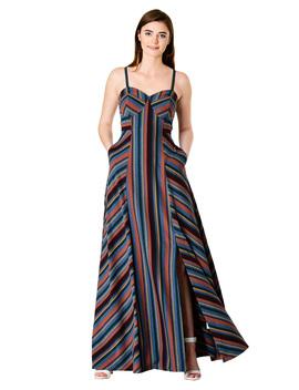 Stripe Cotton Knit Strapless Maxi Dress by Eshakti
