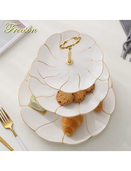 Europe Gold Inlay Bone China Fruit Plates Snack Dishes Cake Plate Candy Dish Porcelain Tray Ceramic Tableware Decoration by Freeson