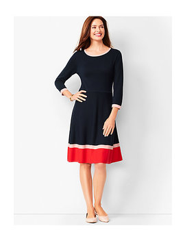 Tri Color Fit & Flare Sweater Dress by Talbots