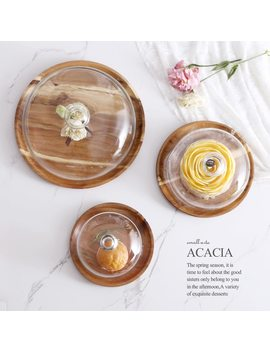 Acacia Wooden Plate For Cake Fruit Dessert Serving Trays Creative Wedding Birthday Party Afternoon Tea Tray With Cover S M L by Ali Express