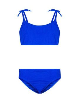 Girls Bright Blue Seersucker Bikini by New Look