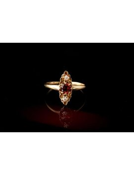 Antique Victorian Red Garnet Old Mine Cut Diamond 14k Gold Ring by Etsy
