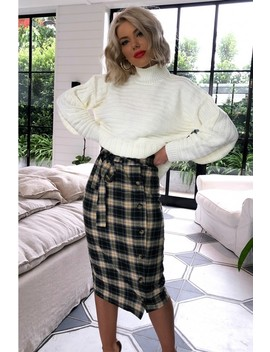 Laura Jade Green Checked Button Side Midi Skirt by In The Style