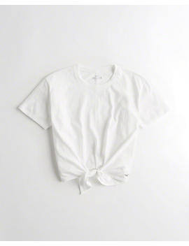 Tie Front Boyfriend T Shirt by Hollister