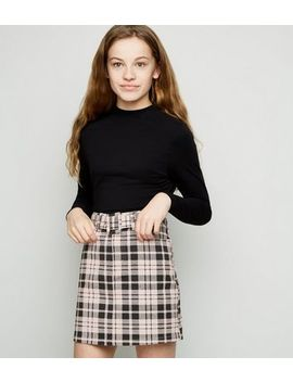 Girls Pink Check Belted Denim Skirt by New Look