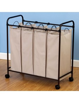 Household Essentials Rolling Quad Sorter Laundry Hamper With Natural Polyester Bags, Antique Bronze by Household Essentials