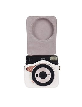Epicgadget Fujifilm Instax Square Sq6 Instant Film Camera Case, Premium Soft Pu Leather Bag Protective Case For Instax Square Sq6 With Adjustable Shoulder Strap (White) by Epic Gadget™
