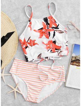 Floral Top With Striped High Waist Bikini by Shein