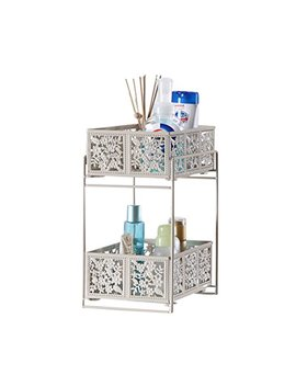 Vanra Cosmetic Storage Rack Metal Steel Cosmetics Tray Wire Basket Cosmetic Holder 2 Tier (White) by Vanra