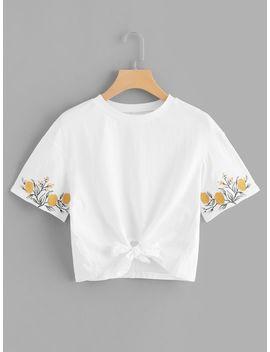 Embroidery Sleeve Knot Hem Tee by Shein