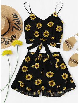 Sunflower Print Cami With Ruffle Hem Shorts by Shein