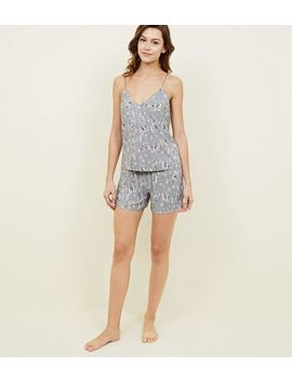 Silver Ditsy Floral Plissé Pyjama Set by New Look