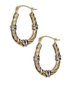 10 K Yellow & White Gold Polished 20.4mm Wavy Hoop Earrings by Karat Rush
