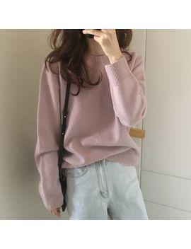 Issol   Plain Round Neck Sweater by Issol
