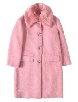 Pink Faux Fur Trim Coat by Kate Spade