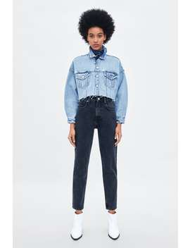 Jeans Mom Fit Authentic Denim  Básicos T Shirts Mulher New Collection by Zara