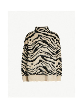 Zebra Stripe Turtleneck Knitted Jumper by Topshop