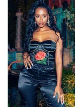 Black Rose Applique Strapless Satin Bodysuit by Prettylittlething