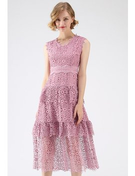 Sweeten Up Full Floral Crochet Tiered Midi Dress In Pink by Chicwish