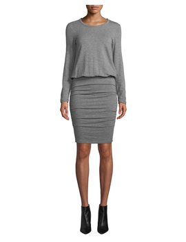 Ruched Long Sleeve Crewneck Dress by Sundry