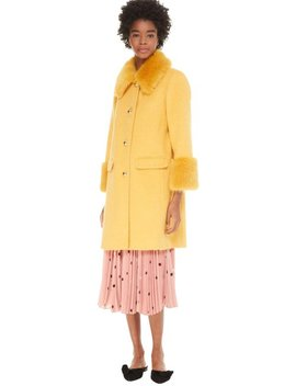 Roasted Maize Fluffy Wool Faux Trim New 2018 Coat by Kate Spade