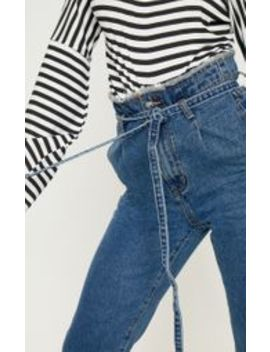 Dark Wash Paperbag Jeans  by Prettylittlething