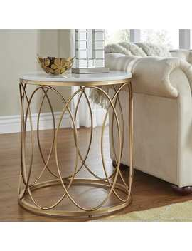 Lynn Round Gold End Table With Marble Top By I Nspire Q Bold by I Nspire Q