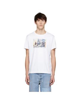 White Carolee Schneemann Edition Jumping Print T Shirt by Helmut Lang