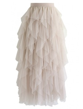 The Clever Illusions Mesh Skirt In Cream by Chicwish