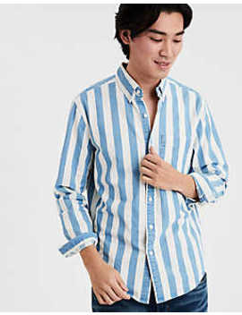 Ae Striped Denim Shirt by American Eagle Outfitters
