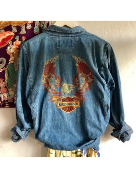Vintage Embroidered Harley Davidson Jean Buttondown by Etsy