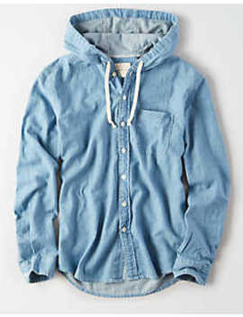 Ae Chambray Hooded Shirt by American Eagle Outfitters