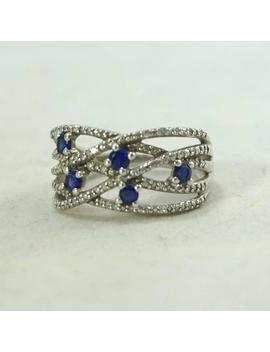 A++ Vintage Sterling Silver Genuine Diamond Sapphire .60ctw Crossover Criss Cross Ring Sz7.5 Full Of Brilliant Sparkle by Etsy