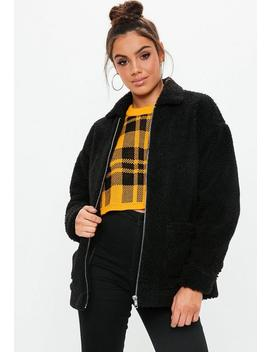 Black Oversized Teddy Zip Through Jacket by Missguided