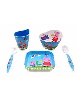 Finex Set Of 5   Peppa Pig Meal Set   Cup, Spoon, Fork, Bowl, Plate Kids Dinner Meal Dishes Feeding Set For Toddlers by Finex