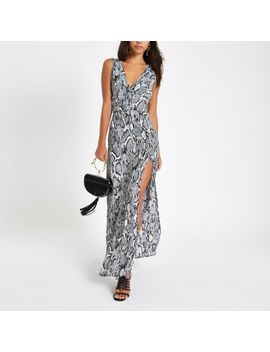 Beige Snake Print Plunge Maxi Dress by River Island