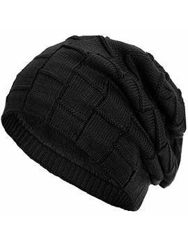 Compagno Slouch Beanie Winter Hat Warmly Lined Woven Pattern With Soft Fleece Lining by Compagno