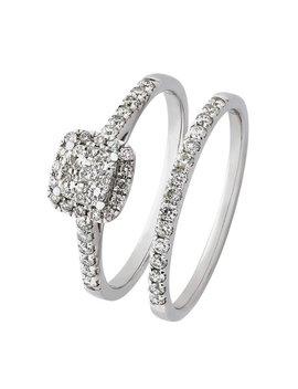 Revere 9ct White Gold 0.50ct Tw Diamond Bridal Ring Set by Argos