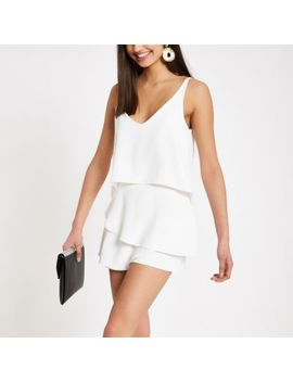 White Frill Tiered Cami Playsuit by River Island