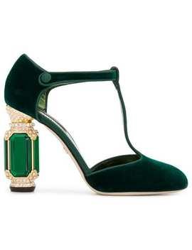 Sapato De Veludo Com Detalhe De Cristais by Dolce & Gabbana