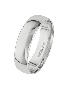 Revere 9ct White Gold Court Shape Wedding Ring   5mm by Argos