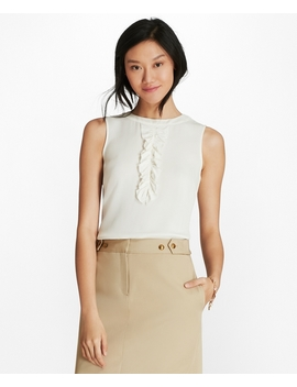 Ruffled Crepe Top by Brooks Brothers
