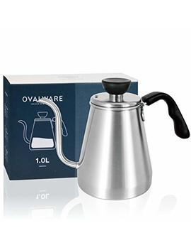 Pour Over Coffee Kettle And Tea Kettle 1.0 L / 34oz   Ovalware Rj3 Stainless Steel Drip Kettle With Precision Gooseneck Spout For Home Brewing, Camping And Traveling by Ovalware