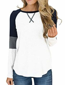 Topstype Womens Long Sleeve Tunic Tops Crew Neck T Shirt Elegant Work Casual Striped Blouse by Topstype
