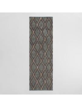 Blue And Ivory Diamond Chunky Jute Rowan Floor Runner by World Market