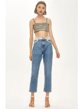 Petite Pearl Embellished Straight Jeans by Topshop