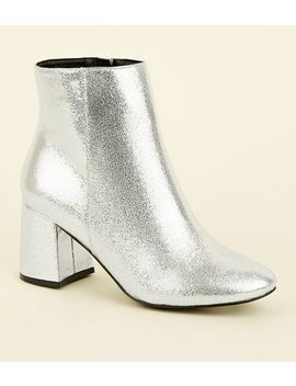 Wide Fit Silver Flared Heel Ankle Boots by New Look